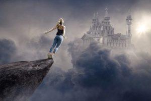 女性が飛び降りる姿