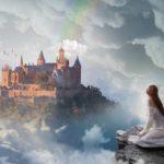 お城と女性