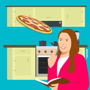 ピザと女性