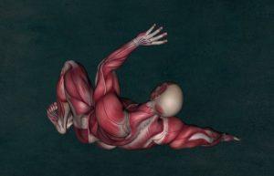 倒れている筋肉の人