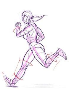 女性が走る絵