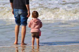 男と子供の足