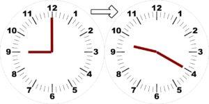 9時から9時20分までの時計