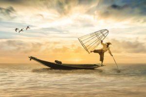 漁をする人のバランス