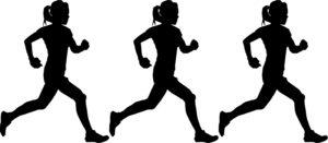 女性が走るシルエット