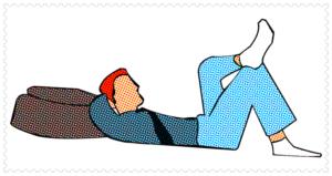 男が寝ている姿