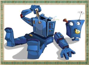 分解しているロボット