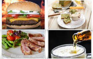 4枚の食事の写真