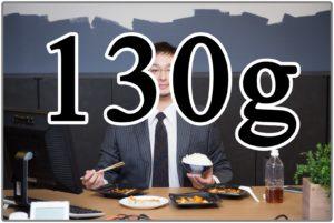 130gの文字と食事風景