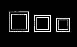 3つの□が並んでいる
