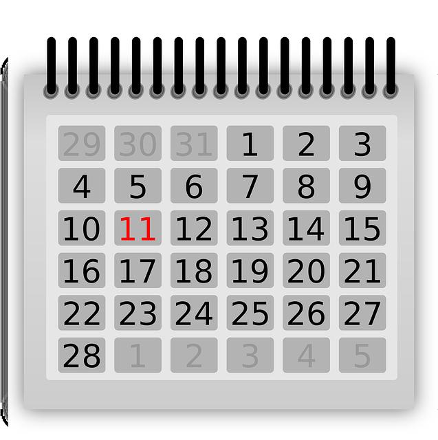 グレーのカレンダー