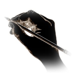 鉛筆を持った手の絵