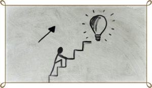 階段を上がっている棒人間