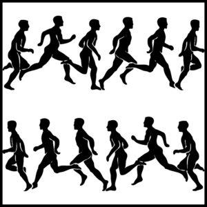 ジョギングしているシルエット