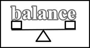 シーソーの絵とbalanceの文字