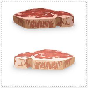 ステーキの赤と白