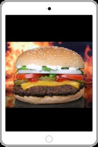 ハンバーガーの写真をスマホで撮った