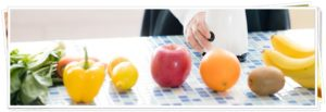 野菜がテーブルに置いてある