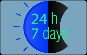 24h 7daysの文字