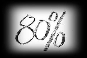 80%の文字