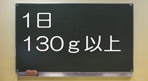 黒板に書かれた「1日130g以上」