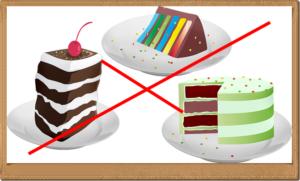 ケーキを×にしている