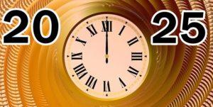 時計と20、25の数字