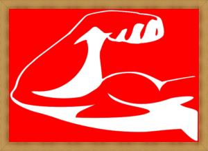 赤が背景の筋肉の絵