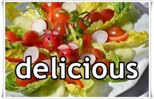 サラダにdeliciousの文字