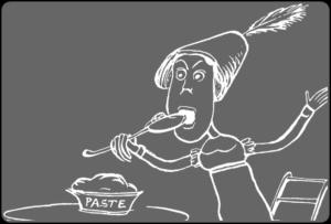 食べている女性の絵