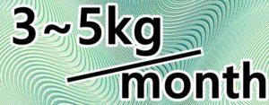 3~5kg/monthの文字