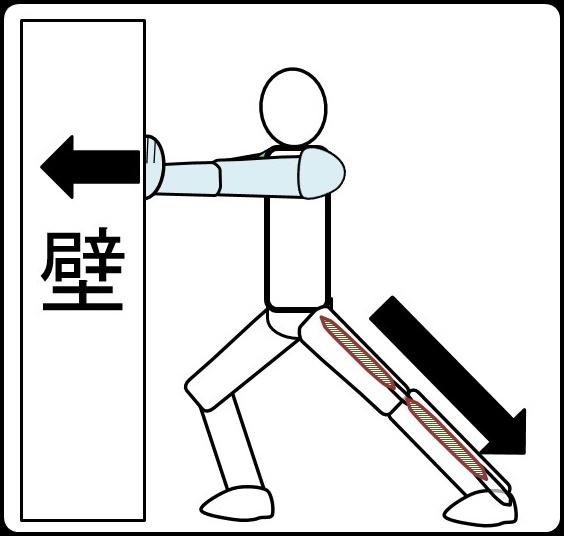 アキレス腱伸ばし 手を壁につくとやりやすい