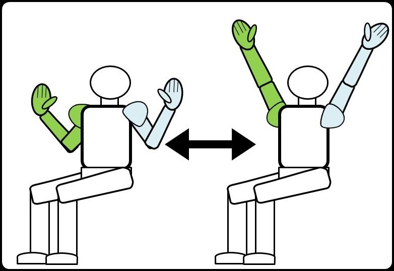 椅子に座って肩の上げ伸ばし