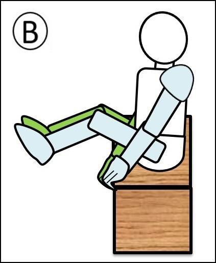 腹筋 ステップ1の足を伸ばしている最中