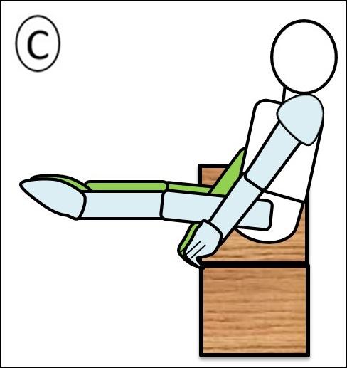 腹筋 ステップ1 足を伸ばしきったところ