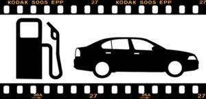 ガソリンスタンドと車