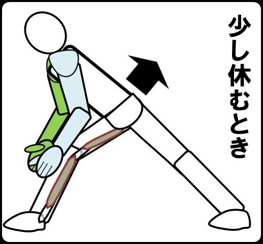 ひざ裏伸ばしを少し休むとき