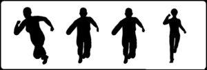 ジョギングしている人の影