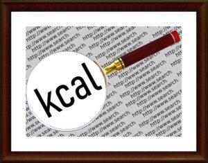 虫眼鏡でkcalの文字を見ている