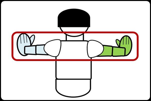 腕の広げ方 上から見た図