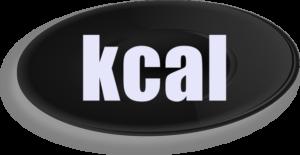黒い皿で「kcal」の文字
