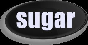 黒い皿で「sugar」の文字
