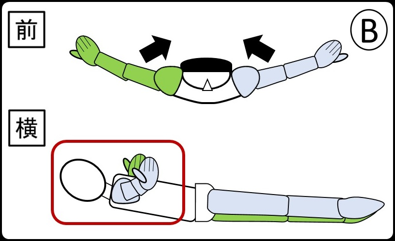 腕を翼みたく上げる