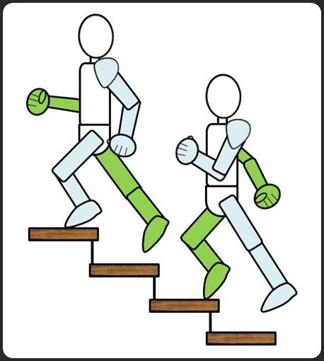 階段を上がるところ