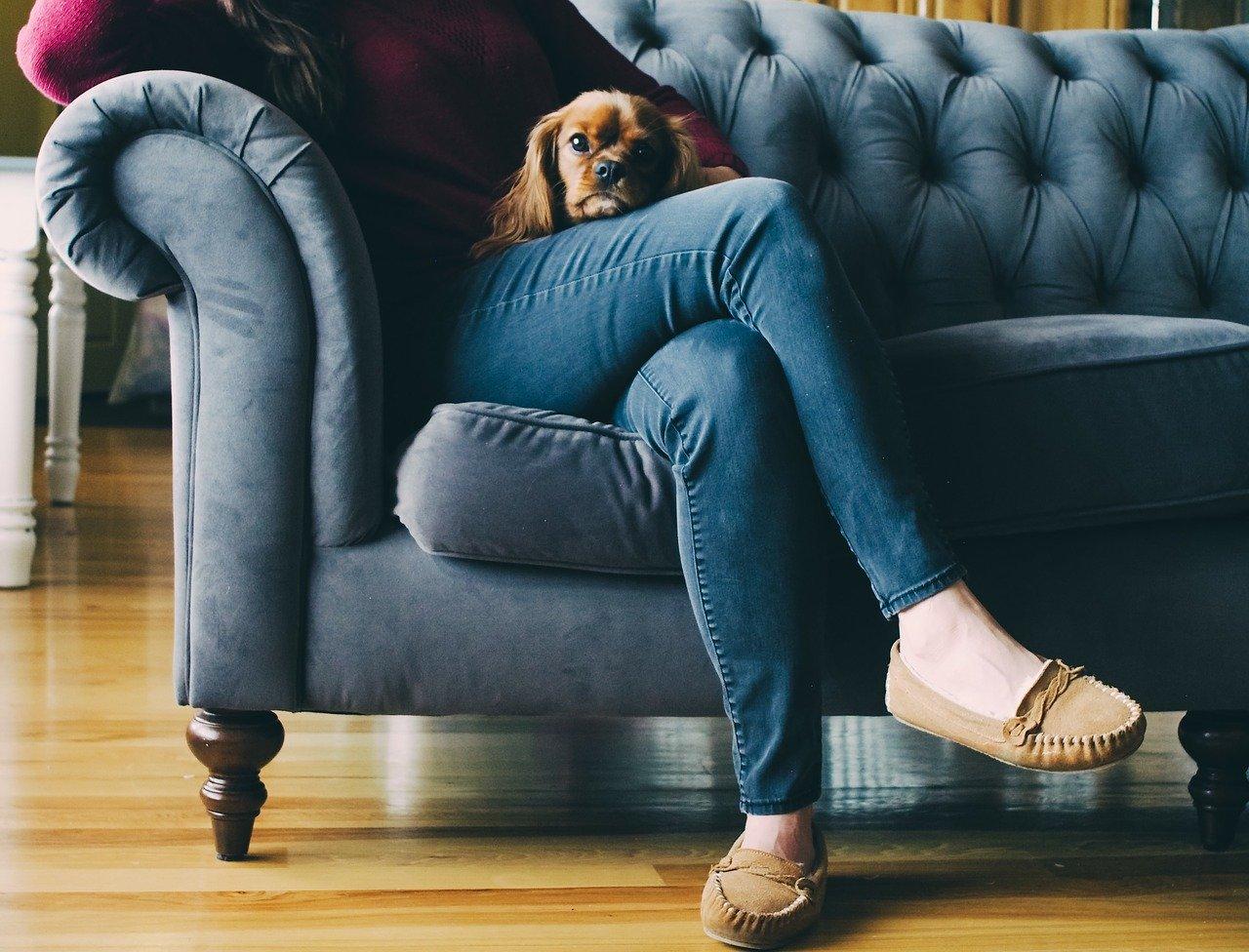 ソファに座って足を組んでいるところ