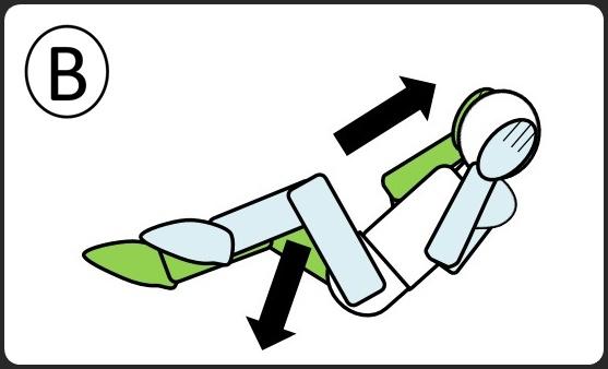腹筋 ひじとひざをつける 逆側に向かう最中