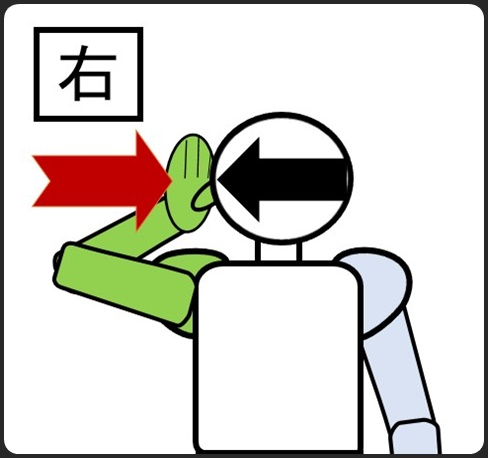 首の自重 手で押さえる 右側