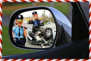 警察が事故処理しているところ