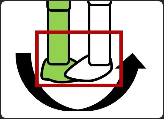 キックの軸足の回転の仕方