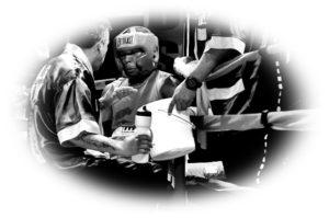 リングコーナーにいるボクサー